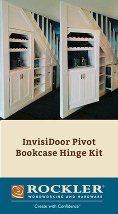 InvisiDoor Pivot Bookcase Hinge Kit allows you to create an attractive hidden door bookcase that can be used to conceal a safe room, wine cellar, or man cave.