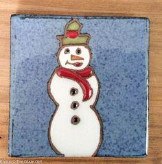 "Ceramic Coaster or Trinket 4""x4"" with felt bumpers - Happy Snowman by GlazeGirlDesigns on Etsy"