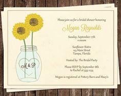 Bridal Shower Invitations Mason Jar by TheInviteLadyShop on Etsy