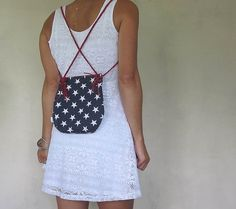 small star backpack purse or small cross body bag. by SmiLeStyles #fourthofjuly #usa #america