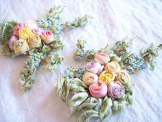 Antique silk ribbon work - pink rosette appliques from the 1920s