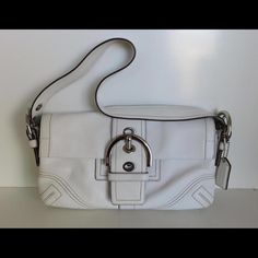 COACH Soho shoulder bag handbag purse Small white leather shoulder bag in good condition.  Minor wear on corners and buckle as shown.  Authentic. Coach Bags Shoulder Bags
