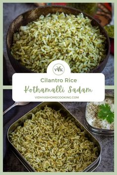 Quick and easy cilantro/coriander rice recipe or kothamalli sadam as we say in Tamil with the homemade cilantro spice mix. A flavorful and simple rice recipe and a perfect dish for the lunch box.