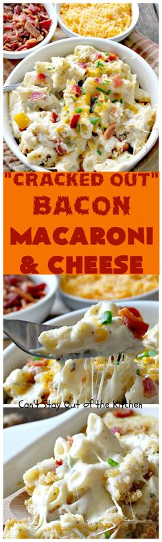 """""""Cracked Out"""" Bacon Macaroni and Cheese   Can't Stay Out of tKitchen   this #Mac&Cheese is divine! The sauce is thick & creamy with several cheeses. I changed the pink salt to regular salt, replaced Gluten Free Flour with regular all purpose flour and replaced Gluten Free Bread Crums iwth regular Break crums. Turned out great."""