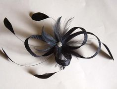 Small navy sinamay fascinator clip by alicehartcouture on Etsy, $32.00
