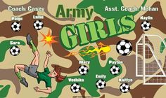 Army-Girls-41567 digitally printed vinyl soccer sports team banner. Made in the USA and shipped fast by BannersUSA. www.bannersusa.com