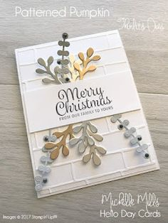 Michelle Mills - Ind Stampin' Up! Demonstrator Australia. FB: Hello Day Cards. Merry Christmas Card using Foil Sheets and the Brick Wall Embossing Folder plus the Patterned Pumpkin Thinlits Dies by Stampin' Up! #eatsleepstamprepeat #gogetstamped #christmas
