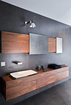 modern bathroom minimalist design gray wall color wall mounted vanity cabinet modern sink Source by celinaideas I do not take credit for the images in th. Bathroom Sink Cabinets, Modern Bathroom Sink, Modern Sink, Minimalist Bathroom, Bathroom Wall Decor, Modern Bathroom Design, Contemporary Bathrooms, Bathroom Furniture, Bathroom Designs