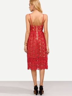 c1e7bf2873 Shop Red Hollow Out Fit   Flare Lace Cami Dress online. SheIn offers Red  Hollow Out Fit   Flare Lace Cami Dress   more to fit your fashionable needs.
