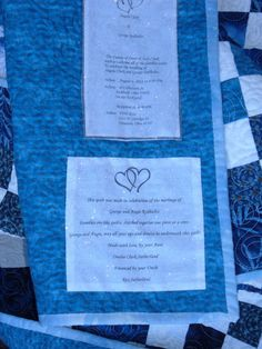 Quilt Label's for Angie Clark's wedding quilt.