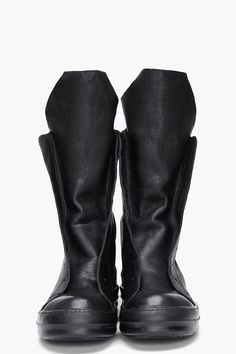 Rick Owens, Black Ramones Textured Leather Boots