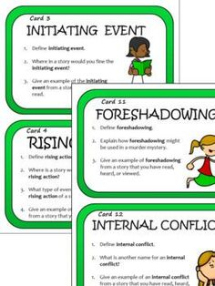 Story Elements Task Card Bundle - four sets of cards - characterization, setting, plot, and theme, for middle school and upper elementary, by Classroom in the Middle   TpT Reading Comprehension Skills, Reading Skills, Teaching Reading, Story Elements, Upper Elementary, Task Cards, Middle School, Making Inferences, Language