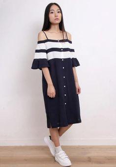 Off Shoulder Bold Stripe Dress