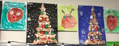 Een kerstboom van stroken kadopapier. En er tussen gekleurde ballen. Alles op een donker papier. Als laatste nog met witte verf sneeuwvlokken erbij maken. Werkje voor groep 2 kinderen.