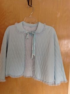 Vintage Baby Blue Nylon Quilted Bed Jacket Lace Trim Sz. Lg. Charmode  Sears USA #Charmode #BedJacket