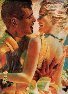 vintage romance 1955 illustration love this! Pin Up Vintage, Vintage Art, Art And Illustration, Illustrations, Retro Kunst, Retro Art, Romance Art, Vintage Romance, Pulp Art