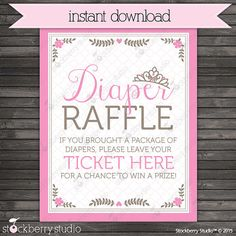 Princess Baby Shower Diaper Raffle Ticket Sign   Instant Download   Diaper  Raffle Sign   Printable Sign   Princess Print
