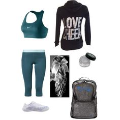 Cheer outfit, nike pros, Nfinitys, cheer hair, glitter, backpack, super cute!!
