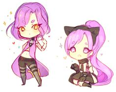 Purple with sparkle by Yamio on DeviantArt Purplehair two girl yelloweyes catgirl chibi