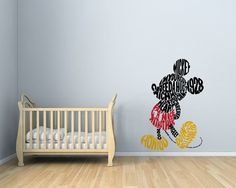 Wall Decal Of Disney Mickey Mouse, 3 Colors Sticker For Unique Style In  Your Wall, Wall Decor, Mickey Wall Art Decal, Mickey Wall Decor.