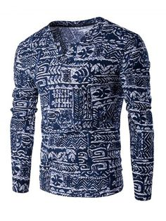 GET $50 NOW | Join RoseGal: Get YOUR $50 NOW!http://www.rosegal.com/men-s-long-sleeves/v-neck-buttons-design-abstract-ethnic-style-pattern-long-sleeve-t-shirt-for-men-598153.html?seid=7838919rg598153