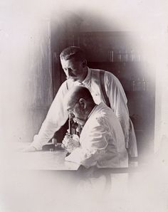 Robert Koch and Richard Pfeiffer in a laboratory, investigating the plague in Bombay, 1897. The German doctor Robert Koch is considered the founder of modern bacteriology. His discoveries made a significant contribution to the development of the first 'magic bullets' - chemicals developed to attack specific bacteria - and Koch was awarded a Nobel Prize in 1905.