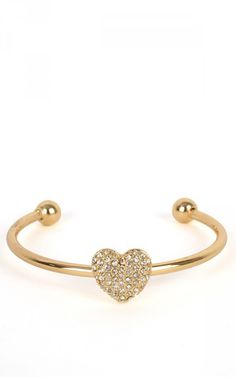 Rhinestone Heart Open Bangle GOLD