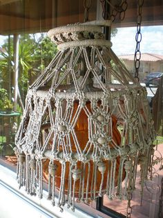 Groovy Retro Macrame Lamp Shade My Vintage Etsy