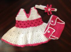 Handmade little girl baby set  dress diaper cover & by SueStitch, $24.99