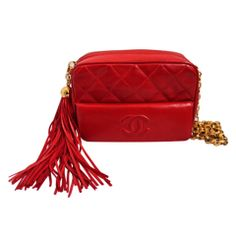 CHANEL red quilted lambskin leather bag with tassel
