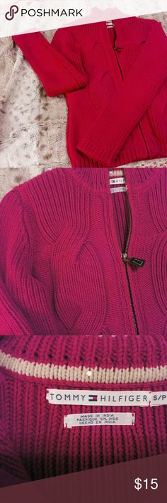 Sweater Cardigan sweater with zipper in front . Long sleeve heavy cable knit sweater. Beautiful,like new. Tommy Hilfiger Sweaters Cardigans