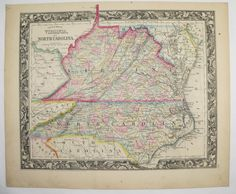 Antique Virginia Map West Virginia North Carolina Vintage Map Pre WV 1860 Mitchell Map Special Gift for Wedding Anniversary Historical Map by OldMapsandPrints on Etsy