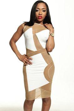 58a22f5606a White Stretch Mesh Club Midi Dress Lace Skirt