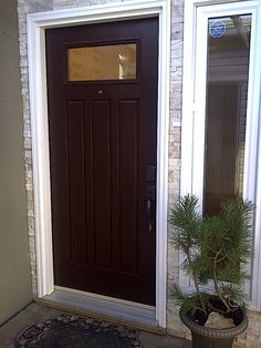Woodgrain fibreglass door with custom top lite and separate sidelite.