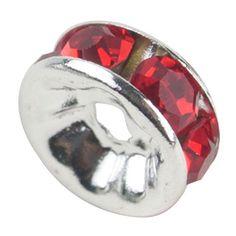 niceeshop(TM) 1 Sack (100Pcs) Kristall Silber Plattiert Rand Farbenreich Perle 8mm-Rot - http://schmuckhaus.online/niceeshop/rot-niceeshop-tm-1-sack-100pcs-kristall-rand-perle
