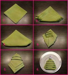 Master the Christmas tree napkin fold and you won't need to buy any special holiday napkins or napkin rings. | 38 Clever Christmas Hacks That Will Make Your Life Easier
