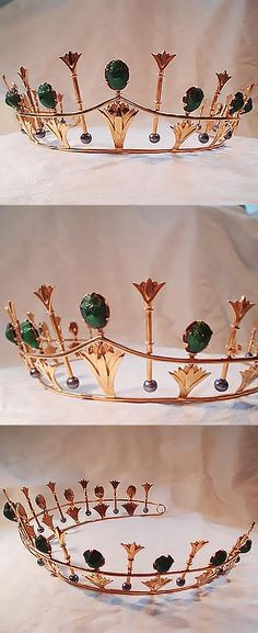 Gemmeus regency scarab beetle tiara. This tiara was a commission for a wedding and was based on the parure set made by Philips of Cockspur Street. London in around 1884/1885. This was created in copper and 22ct gold plating set with oval scarab beetles and peacock pearls.