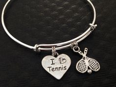 I Love Tennis Heart with Tennis Ball and Racket charm securely attached to a Silver Plated Expandable Bangle Bracelet. Teacher, Coach, Team Gift. One Size Fits all; Easily and Smoothly Adjustable and