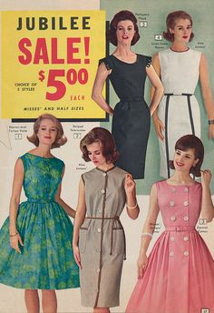 Page 17 of the 1963 Summer National Bellas Hess catalog. 1950s Casual Clothing, Vintage Clothing, Vintage Outfits, Vintage Ads, Vintage Style, Vintage Fashion, 60s Dresses, Summer Dresses, Mad Men Fashion