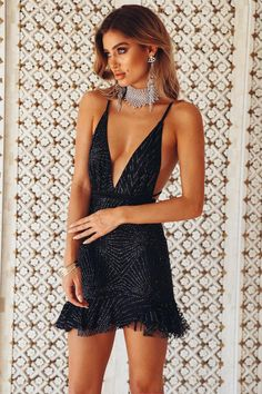 Kleider Hana Black Glitter Party Dress Does my Child need Therapy? Hoco Dresses, Dance Dresses, Cheap Dresses, Homecoming Dresses, Sexy Dresses, Cute Dresses, Beautiful Dresses, Dress Outfits, Vegas Dresses