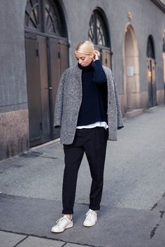 Winter Outfits, 2015: Ellen Claesson is wearing a grey jacket from IRO, dark blue turtle neck from Filippa K, black trousers from Gina Tricot and the sneakers are Adidas Stan Smiths