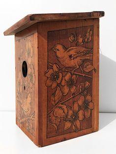 Antique Art Nouveau Wooden Birdhouse Pyrography Blossoms & Birds ca. 1900