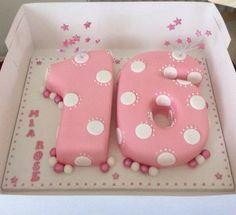 Number 16 cake 16 Birthday Cake, 16th Birthday, Beach Themed Cakes, Theme Cakes, Sweet 16 Cakes, Torte Cake, Number Cakes, Poke Cakes, Cake Images