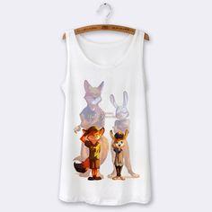 2016 Summer Sexy Top Tank Tops Women Vest Cartoon Zootopia Character Print Camisoles For Women Tank Top Sleeveless Sport White
