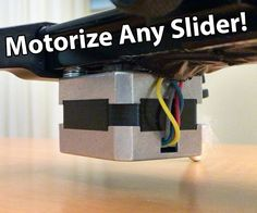 This project shows you how to convert any ordinary slider to an Arduino controlled motorized slider. The slider can move very fast at 6m/min, but also incredibly slow.I reccomend you watch the video to get a good introduction. Things you need: Any Camera Slider. I used this one.An Arduino Micro4 Small Toggle SwitchesA 12Volt Battery PackA timing belt and 2 pulleyA stepped Dril bit A soldering Iron. I can totally reccomend this one. It is an investment, but it pays out in the long run.A49...