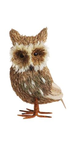 5 White Fuzzy Owl Standing Christmas Ornament  Holiday decor