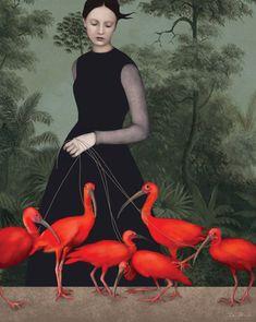 'The lady of the ibis' by Daria Petrilli. Italian illustrator Daria Petrilli's digital artworks hearken back to the countryside retreats… Daria Petrilli, Inspiration Artistique, Art And Illustration, Illustration Fashion, Pics Art, Surreal Art, New Wall, Love Art, Oeuvre D'art