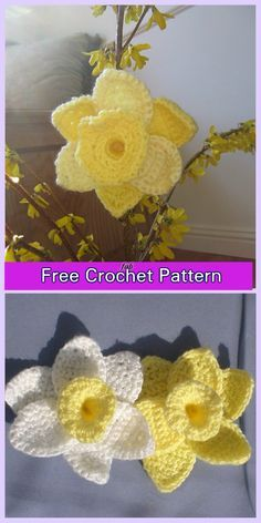 Crochet Daffodil Flower Free Patterns - Crochet Daffodils of Spring Free Pattern