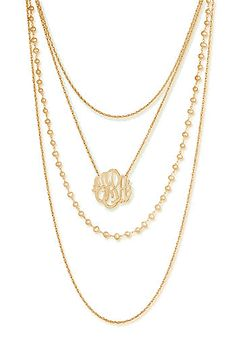 Cute gold monogram multi-strand necklace