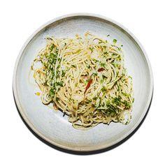 Spaghetti med hvidløg, olivenolie og chili